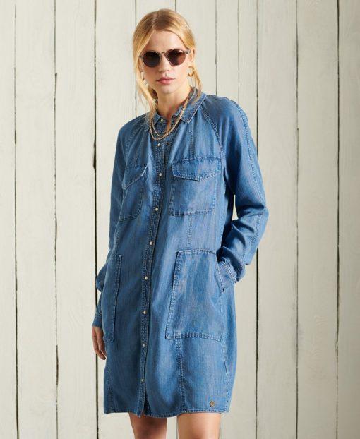 Superdry Tencel Oversized Shirt Dress Mid Wash