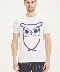 Knowledge Cotton Apparel Basic Owl Tee White