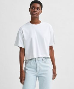 Selected Femme Frame Crop Tee Bright White