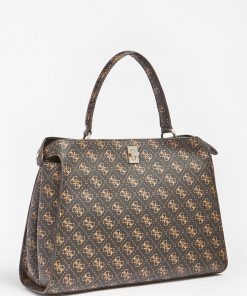 Guess Uptown Chick Satchelr Bag Brown