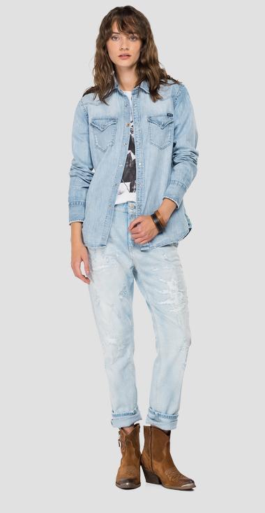 Replay Boy Fit Denim Shirt Light Blue