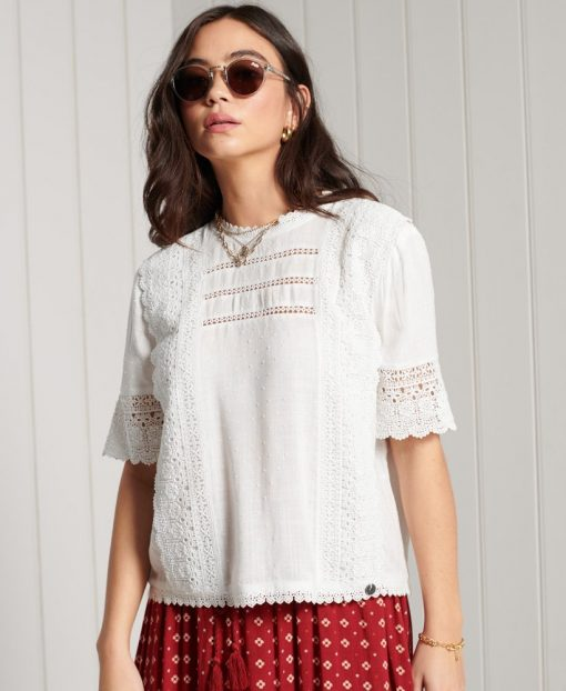 Superdry Annie Lace Top White