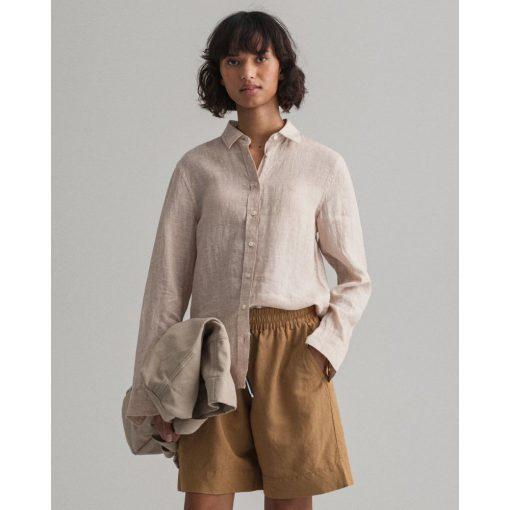 Gant Woman Linen Shirt Dry Sand
