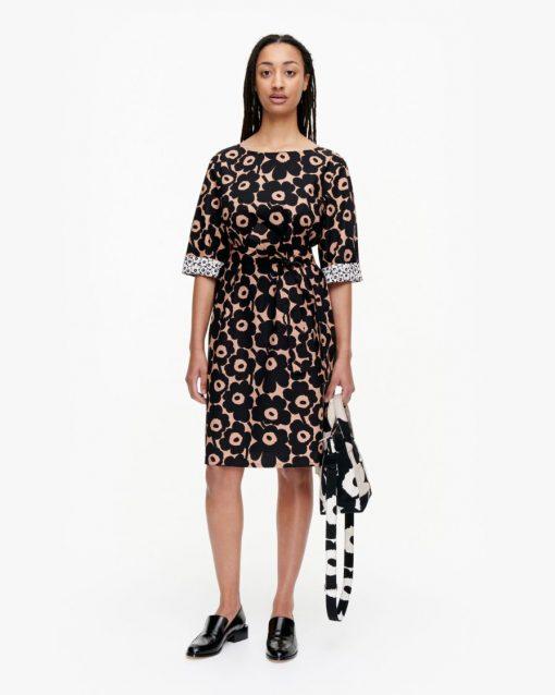 Marimekko Ilmaan Mini Unikko Dress Brown