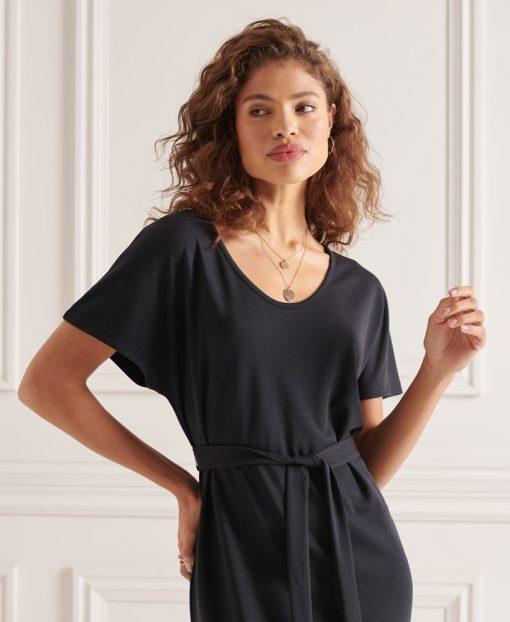 Superdry Tie Waist Mini Dress Black