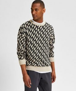 Selected Homme Beness Knit Crew Oatmeal