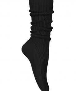 Balmuir Berry Ribbed Kashmir Socks Black