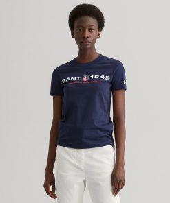 Gant Woman Retro Shield T-shirt Classic Blue