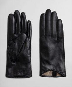 Gant Woman Leather Gloves Black