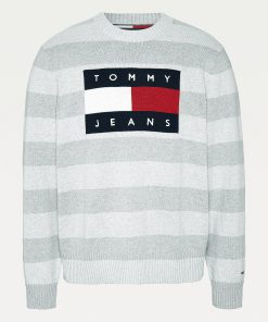 Tommy Jeans Flag Sweater Light Grey Heather