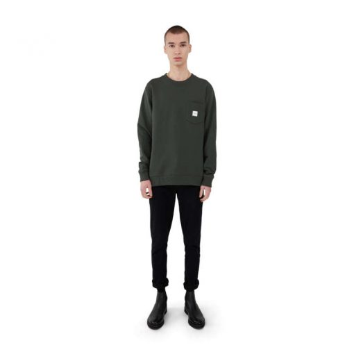 Makia Square Pocket Sweatshirt Dark Green