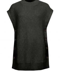 STI Riia Long Knit Vest Black