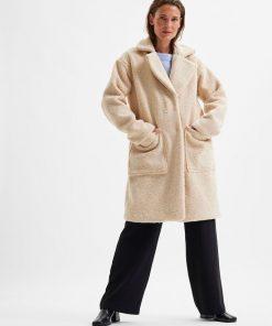 Selected Femme New Nanna Teddy Coat Sandshell