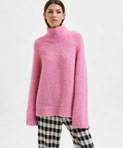Selected Femme Mayah High Neck knit Prism Pink