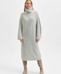 Selected Femme Elina Knit High Neck Dress Light Grey Melange