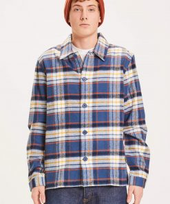Knowledge Cotton Apparel Pine Big Checked Heavy Flannel Overshirt Blue