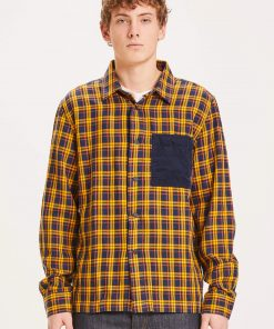 Knowledge Cotton Apparel Pine Fine Checked Overshirt Yellow