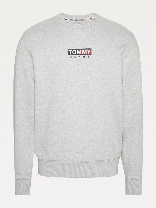 Tommy Jeans Graphic Crew Neck Sweatshirt Silver Grey Htr