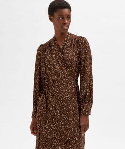 Selected Femme Alva Wrap Dress Coffee Bean
