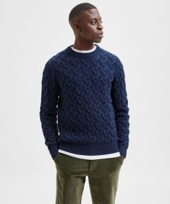 Selected Homme Cable Knit Jumper Dark Sapphire
