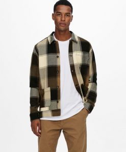 Only & Sons Checked Overshirt Jacket Demitasse