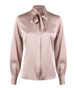 Stenströms Selma Feminine Silk Blouse Bow Collar Pink