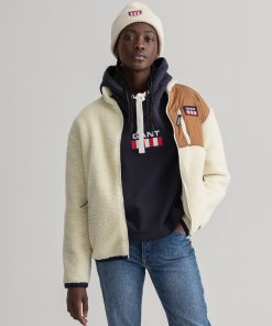 Gant Woman Fleece Jacket Offwhite