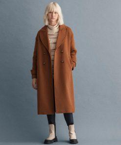 Gant Woman Wool Coat Roasted Walnut
