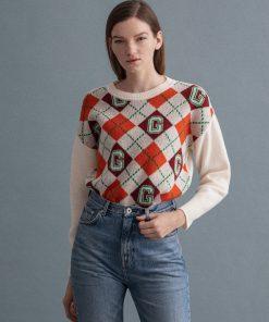 Gant Woman Argyle Sweater Cream