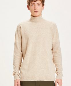 Knowledge Cotton Apparel Field Roll Neck Knit Gray