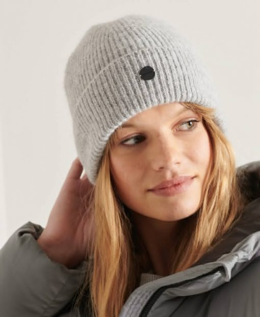 Superdry Luxe Beanie Pale Grey Marl